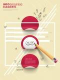 Dé el estilo exhausto del collage infographic con la pluma y las etiquetas engomadas Fotos de archivo