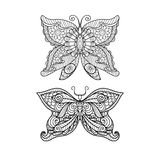 Dé el estilo exhausto del zentangle de la mariposa para el libro de colorear, el diseño de la camisa o el tatuaje stock de ilustración