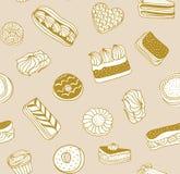 Dé el fondo exhausto del vector con las tortas, las galletas y otros dulces Modelo inconsútil libre illustration