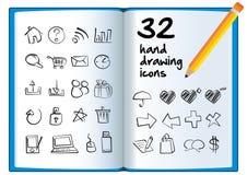 Dé el icono del dibujo en un libro grande con un lápiz. Imágenes de archivo libres de regalías