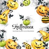 Dé el marco cuadrado exhausto con las calabazas y las hojas de la acuarela Ejemplo del día de fiesta de Halloween Alimento divert ilustración del vector