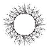 Dé el marco exhausto del estilo de la aguafuerte en una forma del ejemplo del vector de los rayos del sol stock de ilustración
