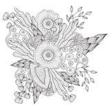 Dé el marco floral modelado ornamental étnico artístico exhausto en el estilo del garabato, páginas adultas del colorante Fotografía de archivo