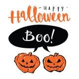 Dé el mensaje y las calabazas exhaustos del globo de discurso del feliz Halloween, Foto de archivo libre de regalías