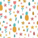 Dé el modelo inconsútil del verano exhausto con las flores y la piña Fondo infantil tropical lindo Elementos decorativos elegante Imagen de archivo libre de regalías