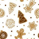Dé el modelo inconsútil exhausto con la galleta tradicional de la Navidad ilustración del vector