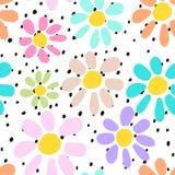 Dé el modelo inconsútil exhausto con las flores inusuales coloridas en fondo de los lunares Mire perfectamente en tela, la materi Imagen de archivo libre de regalías