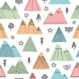 Dé el modelo inconsútil exhausto con los árboles, las estrellas y las montañas Fondo escandinavo creativo del arbolado Bosquejo d Fotografía de archivo