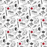 Dé el modelo inconsútil exhausto con los elementos de la cultura de Japón Fondo de Japón para el diseño Vector Imágenes de archivo libres de regalías