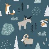 Dé el modelo inconsútil exhausto con el zorro, la cabra, los alces y el conejo en diseño escandinavo de la Navidad del bosque ilustración del vector
