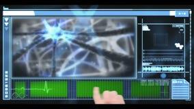Dé el movimiento en sentido vertical a través del interfaz médico que muestra las neuronas y el copyspace metrajes