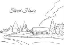 Dé el paisaje exhausto con el camino a la línea diseño del bosquejo de la casa y del bosque del pino fotos de archivo libres de regalías