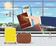 Dé el pasaporte del control y el documento de embarque en aeropuerto libre illustration