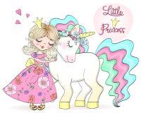 Dé el pequeño unicornio lindo hermoso exhausto con la muchacha de la princesa libre illustration