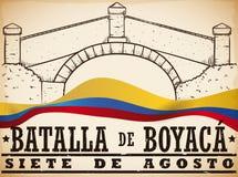 Dé el puente exhausto del ` s de Boyaca y la bandera colombiana para la batalla del ` s de Boyaca, ejemplo del vector stock de ilustración
