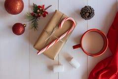 Dé el regalo hecho a mano con el bastón de caramelo y los ornamentos de la Navidad Foto de archivo