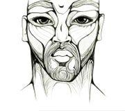 Dé el retrato africano de dibujo del hombre aislado en blanco Imagenes de archivo