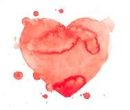 Dé el rojo del amor de la pintura del arte de la acuarela de la acuarela del drenaje Imagenes de archivo