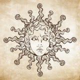 Dé el sol antiguo exhausto del estilo con la cara de dios griego y romano Apolo Tatuaje o ejemplo de destello del vector del dise ilustración del vector