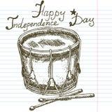 Dé el tambor exhausto del bosquejo, Día de la Independencia feliz del texto Fotografía de archivo