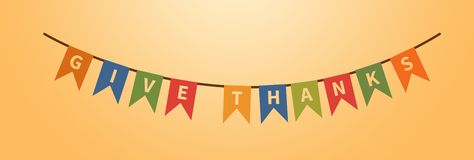 Dé el texto de las gracias Decoraciones del día de fiesta Elemento del diseño ilustración del vector