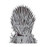 Dé el trono exhausto del hierro de Westeros hizo de espadas o de cuchillas antiguas del metal Silla ceremonial construida del arm ilustración del vector