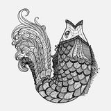 Dé el vector exhausto de los pescados de la fantasía en estilo del zentangle Fotografía de archivo