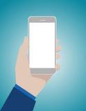 Dé a explotación agrícola el teléfono elegante móvil con la pantalla en blanco Busi del concepto Imagen de archivo libre de regalías