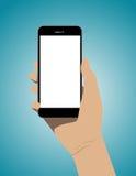 Dé a explotación agrícola el teléfono elegante móvil con la pantalla en blanco Busin del concepto Fotografía de archivo