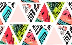 Dé a extracto exhausto del vector el collage inusual de la decoración del tiempo de verano modelo inconsútil con la sandía, aztec ilustración del vector