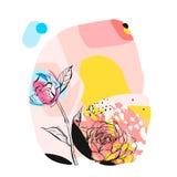 Dé a extracto exhausto del vector el ejemplo inusual creativo con la flor gráfica de la peonía en colores en colores pastel dibuj Fotos de archivo libres de regalías
