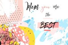 Dé a extracto exhausto del vector el jefe creativo del saludo del día del ` s de la madre con el collage de las flores de la prim ilustración del vector