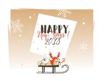Dé a extracto exhausto del vector la Feliz Navidad y la Feliz Año Nuevo plantilla de la tarjeta de felicitación de 2018 del tiemp Imagen de archivo