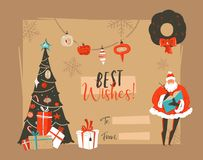 Dé a extracto exhausto del vector la Feliz Navidad y el nuevo jefe feliz de la tarjeta de felicitación de los ejemplos de la hist Foto de archivo