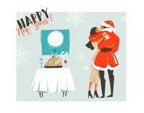 Dé a extracto exhausto del vector la historieta del tiempo de la Feliz Navidad tarjeta retra de los ejemplos del vintage con los  Foto de archivo libre de regalías