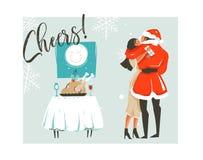 Dé a extracto exhausto del vector la historieta del tiempo de la Feliz Navidad tarjeta retra de los ejemplos del vintage con los  Fotos de archivo