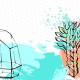 Dé a extracto exhausto del vector la plantilla creativa gráfica de la tarjeta del succulent, del cactus y del terrario en cepillo Foto de archivo libre de regalías