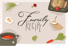 Dé a extracto exhausto del vector la tarjeta moderna del cartel de los ejemplos del concepto de la clase de cocina de la historie Imagenes de archivo