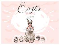 Dé a extracto exhausto del vector Pascua feliz escandinava gráfica silueta simple linda del conejito, ejemplos del huevo que salu ilustración del vector