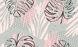 Dé a extracto exhausto del vector a pulso las hojas de palma tropicales texturizadas artísticas modelo inconsútil en colores en c Fotos de archivo libres de regalías