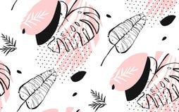 Dé a extracto exhausto del vector a pulso las hojas de palma tropicales texturizadas artísticas modelo inconsútil en colores en c Fotografía de archivo libre de regalías