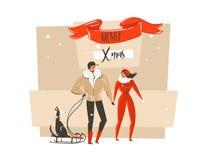 Dé a extracto exhausto del vector tarjeta de felicitación de los ejemplos de la historieta de la Feliz Navidad y de la Feliz Año  Imágenes de archivo libres de regalías