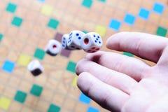 Dé a fondo blanco de los dados que lanza el juego de mesa borroso colorido El momento dinámico del juego, foco selectivo Foto de archivo libre de regalías