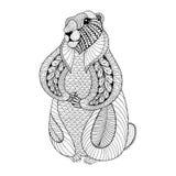 Dé Groundhog exhausto para las páginas adultas del colorante en garabato libre illustration