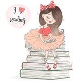 Dé hermoso exhausto, lindo, la niña se está sentando en los libros y la lectura stock de ilustración