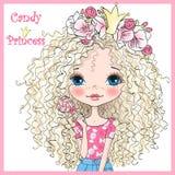 Dé hermoso exhausto, lindo, muchacha de la princesa del caramelo en una guirnalda con la corona stock de ilustración