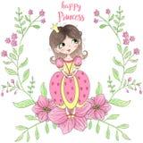 Dé hermoso exhausto, lindo, princesa de la niña con las flores Ilustración del vector ilustración del vector