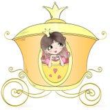 Dé hermoso exhausto, lindo, princesa de la niña en el carro Ilustración del vector stock de ilustración