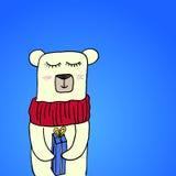 Dé a historieta sonriente linda exhausta el oso polar en la bufanda que sostiene la caja de regalo de la Feliz Navidad Dibujo de  Imágenes de archivo libres de regalías