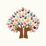 Dé a impresión el símbolo étnico del árbol de la diversidad de la cultura stock de ilustración
